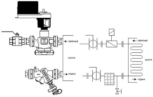 Пример подключения клапана